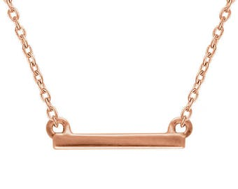 Gold Petite Bar Necklace - 14k, 18k Yellow, Rose, White Gold & Platinum. Minimal Layering Jewelry Custom Made in NYC