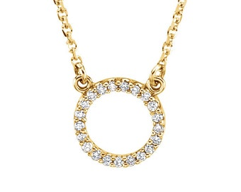Diamond Tiny Karma Circle Necklace - 9mm Circle. Fine Jewelry Gift Idea for Her. Available in 14k, 18k Yellow, Rose, White Gold and Platinum