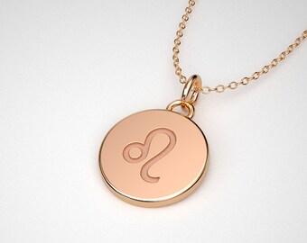 Leo Necklace -  Solid Gold Tiny Leo Zodiac Charm. TINY TALISMANS™ Spiritual Jewelry. 14k, 18k Rose, Yellow, White Gold & Platinum
