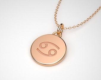 Cancer Zodiac Necklace - Solid Gold Tiny Cancer Sign Charm. TINY TALISMANS™ Spiritual Jewelry. 14k, 18k Rose, Yellow, White Gold & Platinum