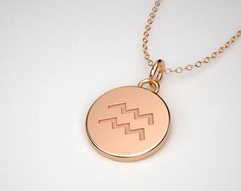 Aquarius Necklace - Solid Gold Tiny Aquarius Zodiac Charm.  14k, 18k Solid Gold & Platinum.
