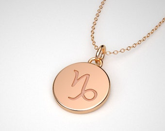 Capricorn Necklace - Solid Gold Tiny Capricorn Zodiac Charm.  14k, 18k Solid Gold & Platinum.