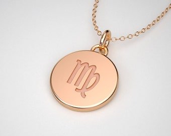 14k Gold Virgo Necklace - Tiny Zodiac Charms. 14k, 18k Yellow, Rose, White Gold & Platinum. TINY TALISMANS™ Line of Spiritual Jewelry