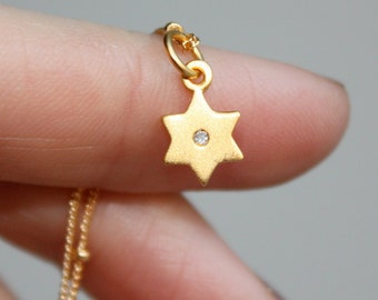 14k Gold Tiny Diamond Star of David Necklace - Hanukkah Jewelry, Gift Idea. 14k, 18k Rose, Yellow, White Gold or Platinum
