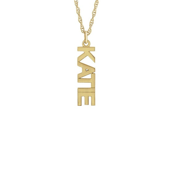 Personalized 14K Solid Gold Vertical Name Pendant Laser Cut Block Letter Jewelry