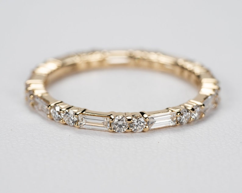 8cfda6a19f542 Double Round Baguette Diamond Eternity Band - 3/4 CTW. FULL Eternity. 14k,  18k White, Yellow, Rose Gold and Platinum