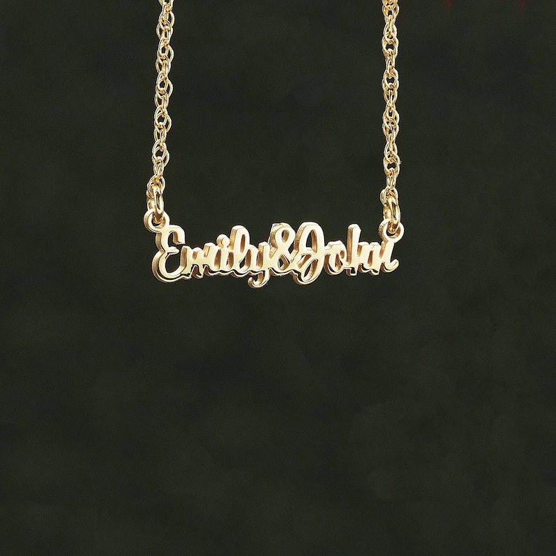 6eb135aaf6 Couples Nameplate Necklace - Valentines Day Gift. Personalized Jewelry. His  & Hers Pendant. Sterling Silver OR 14k Yellow, White, Rose Gold