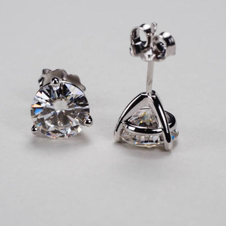 9246281e6 3-Prong Martini Moissanite Stud Earrings 14k 18k Yellow | Etsy