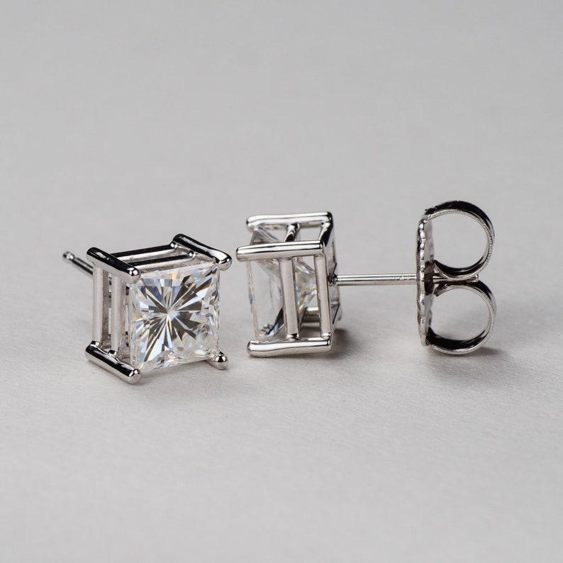 e4c580982 Princess Cut Moissanite Stud Earrings 4-Prong Basket. 14k | Etsy