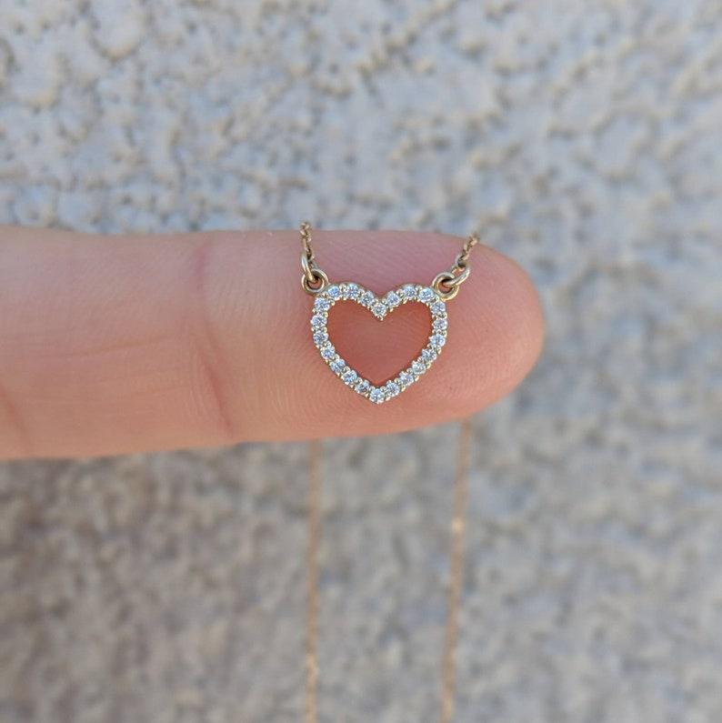 d9de06bb3cbf Mini Diamond Heart Necklace 14k 18k Yellow Rose White | Etsy