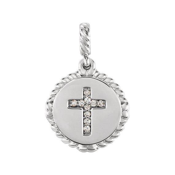 Diamant pendentif croix ou collier petite 14kt Rose Jaune Blanc or ou platine