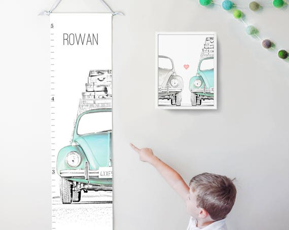 VW Beetle/Bug canvas growth chart in blue