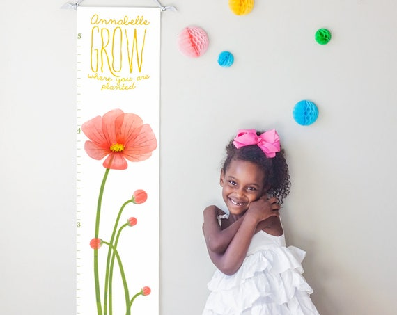 Grow Where You Are Planted red poppies canvas growth chart