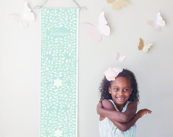 Personalized canvas growth chart with floral bone inlay design in turquoise - perfect for boho baby girl's nursery or baby shower gift!
