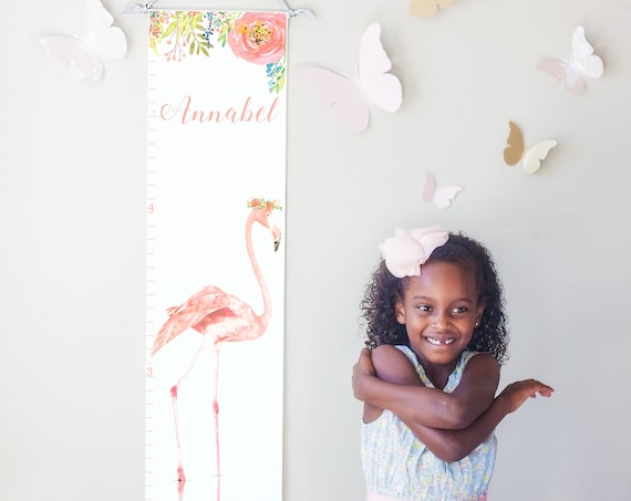 Flamingo canvas growth chart in blush pink