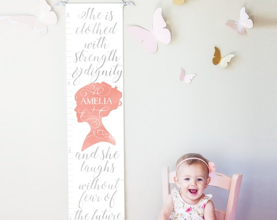 Proverbs 31 Growth Chart in pink and gray
