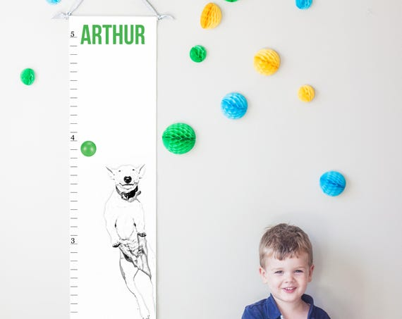 Jumping Dog canvas growth chart in black and white with green accents