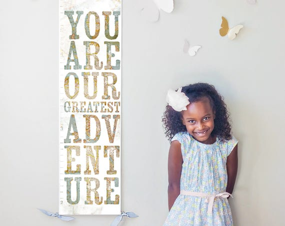 You Are Our Greatest Adventure growth chart with vintage map background