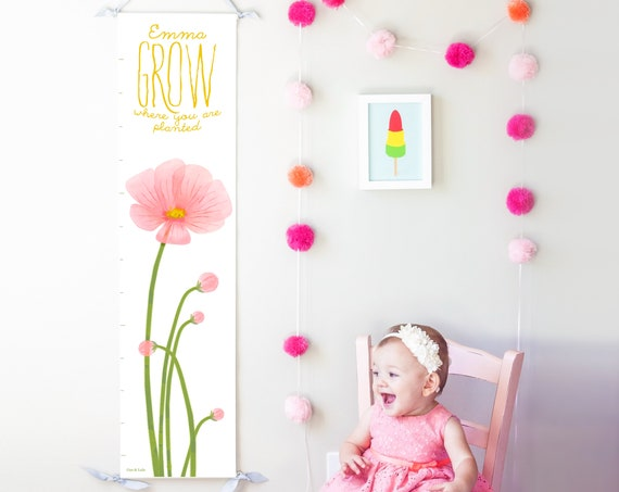 Grow Where You Are Planted pink poppies canvas growth chart