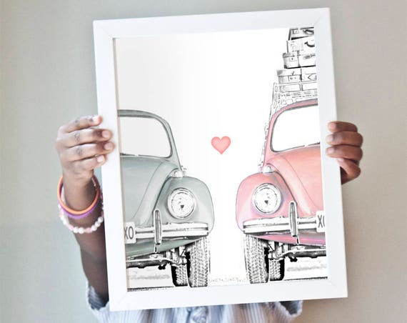 Love Bug art print with adorable vintage VW beetles in pink and gray