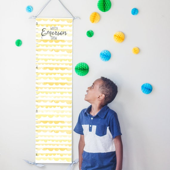 Personalized Watch Me Grow canvas growth chart with yellow scallops