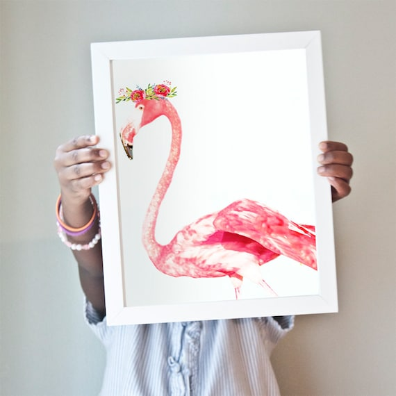 Flamingo art print in bright pink.