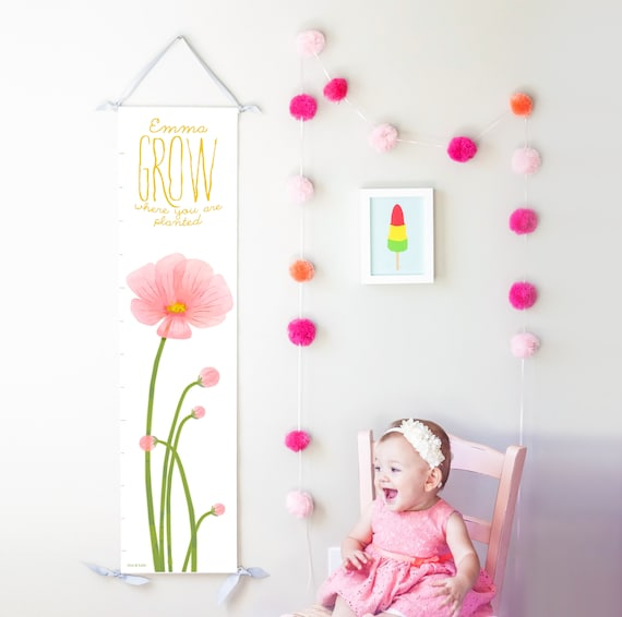 Personalized Grow Where You Are Planted pink poppies canvas growth chart