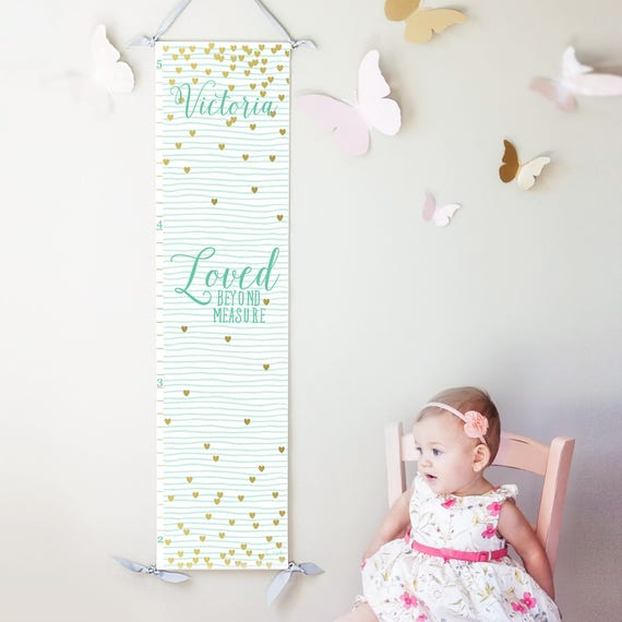 "Mint striped and gold hearts ""Loved beyond measure"" canvas growth chart"