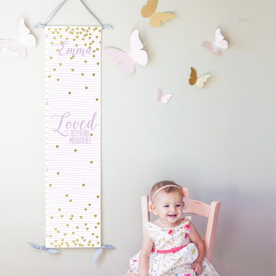 "Lavender striped and gold hearts ""Loved beyond measure"" canvas growth chart"