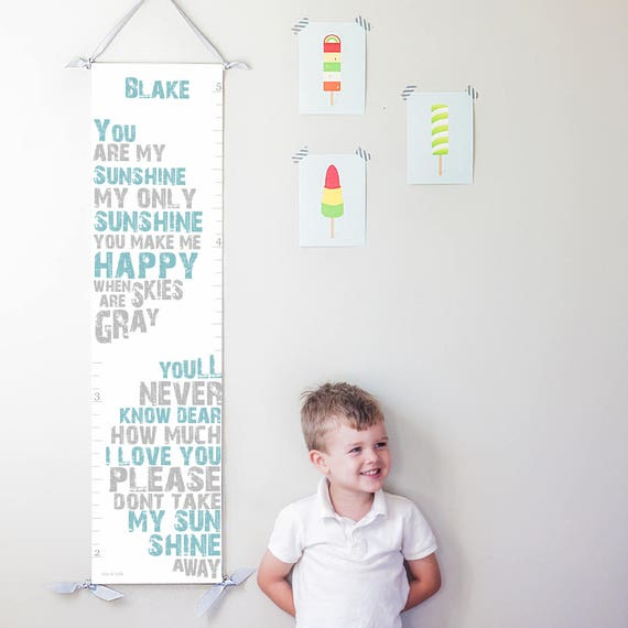 You Are My Sunshine canvas growth chart in blue and gray