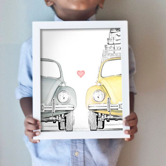 Love Bug art print with adorable vintage VW beetles in yellow and gray