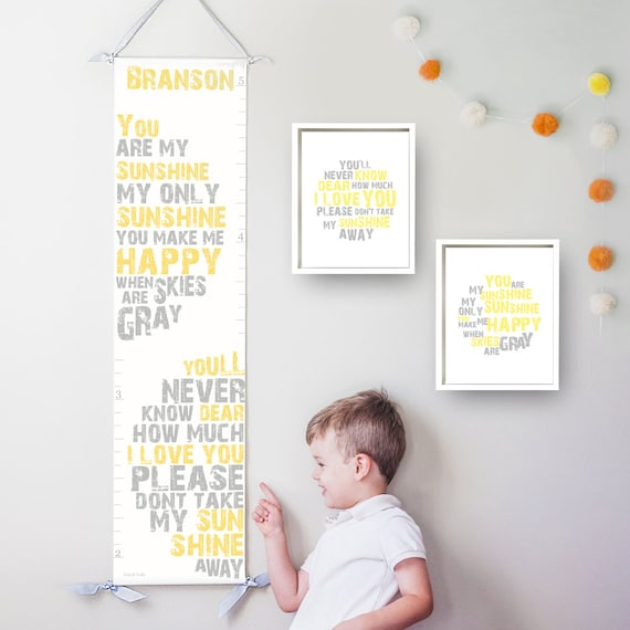 You Are My Sunshine canvas growth chart in yellow and gray
