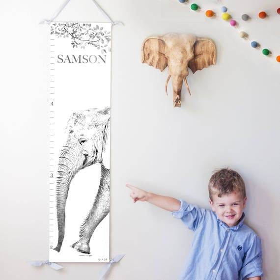 Elephant canvas growth chart in black and white