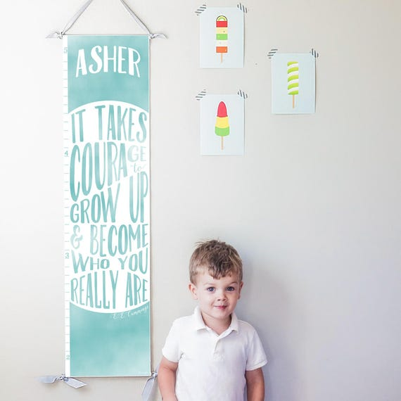 "Blue ""It takes courage to grow up"" growth chart"