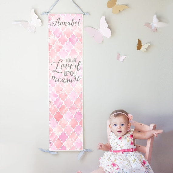Loved Beyond Measure canvas growth chart in pink and lavender
