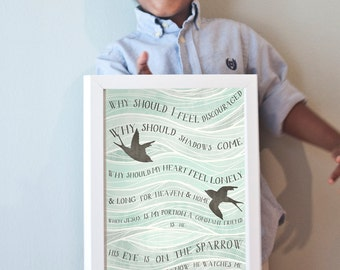 His Eye is on the Sparrow print in blues, grays, and black