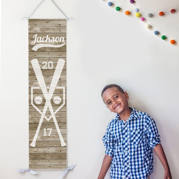Rustic wood baseball growth chart