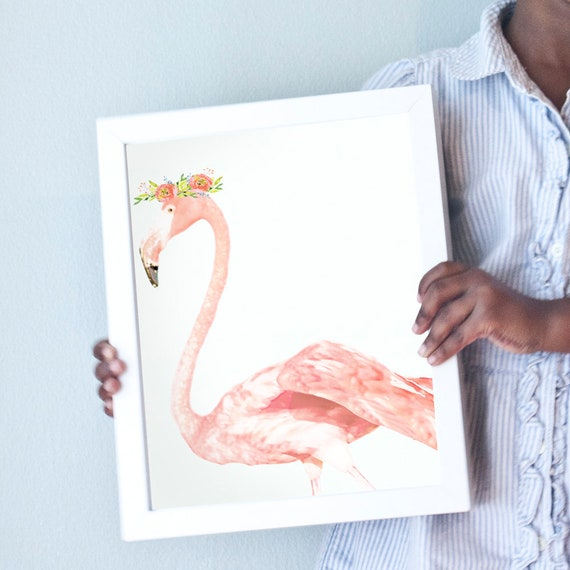 Flamingo art print in blush pink.