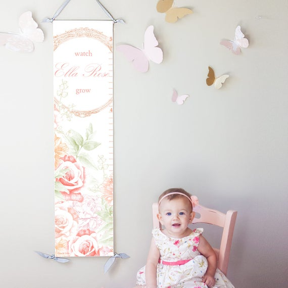 Personalized Girls Floral Growth Chart