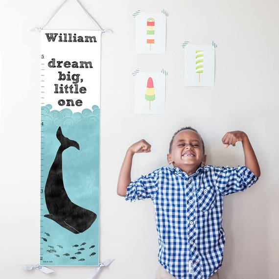 Dream Big Little One nautical whale canvas growth chart