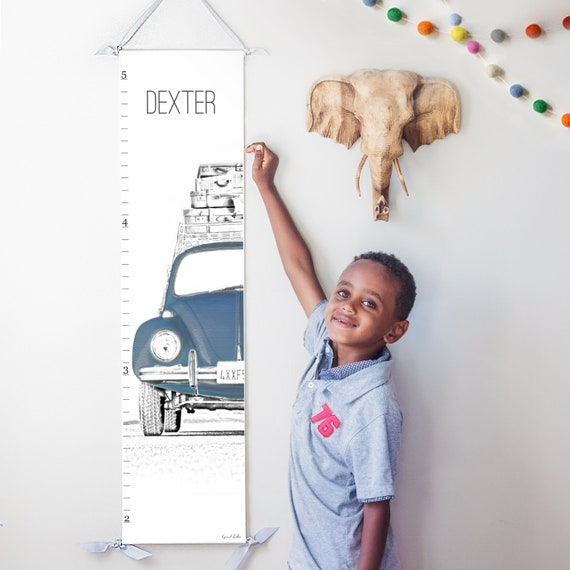 VW Beetle/Bug canvas growth chart in navy blue