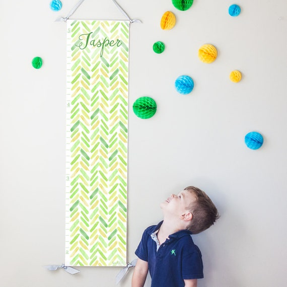 Green and Yellow Watercolor Chevron Growth Chart