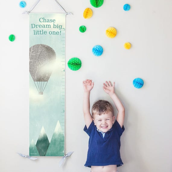 "Hot Air Balloon ""Dream Big"" canvas growth chart"