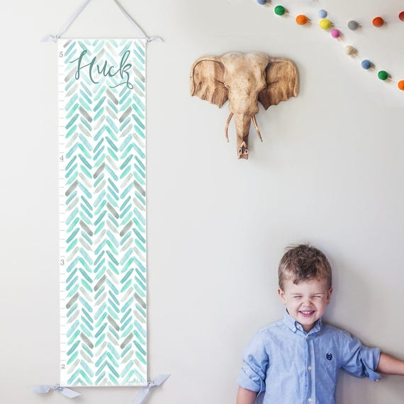 Blue and Turquoise Watercolor Chevron Growth Chart