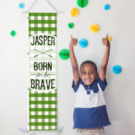 "Green Plaid ""Born to be Brave"" canvas growth chart"
