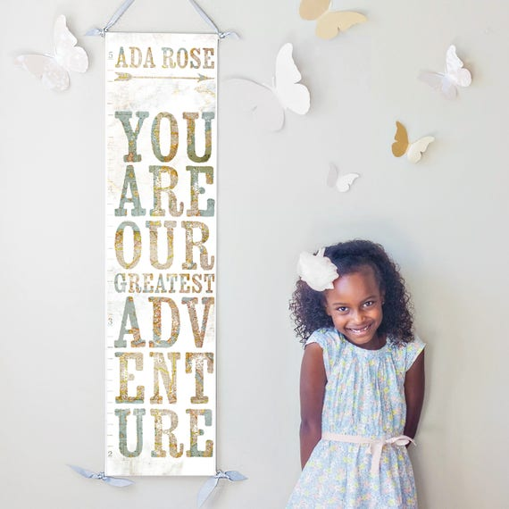 """You Are Our Greatest Adventure"" growth chart with vintage map background"