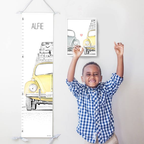 Personalized VW Beetle/Bug canvas growth chart in yellow