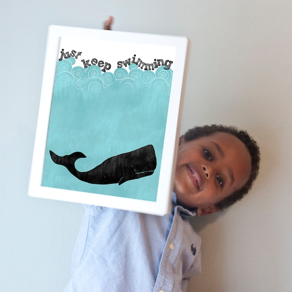 Just Keep Swimming print in turquoise, black, and white