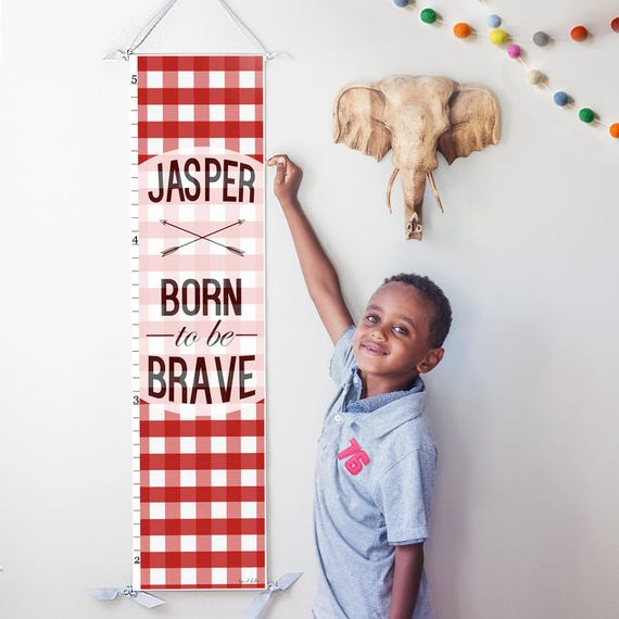 "Red Plaid ""Born to be Brave"" canvas growth chart"