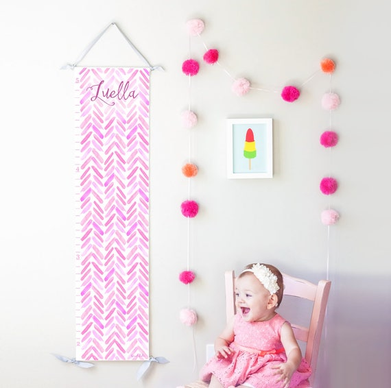 Purple, Pink and Lavender Watercolor Chevron Growth Chart